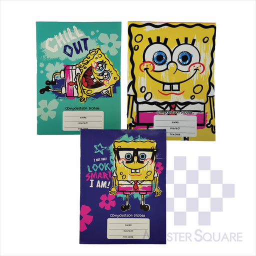 Notebook Composition 80lvs Spongebob Design Set 3 Pack Of 3-Master Square