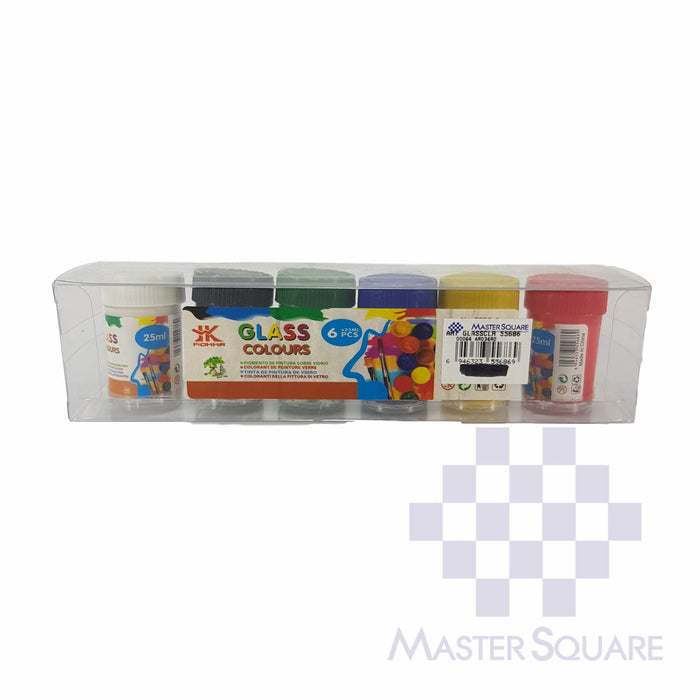 Glass Colours 55686 6colors X 25ml-Master Square