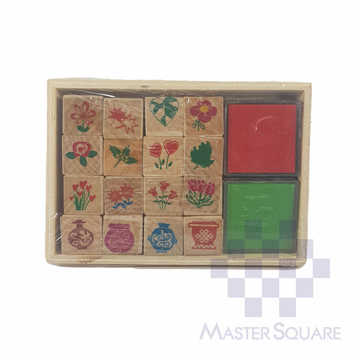 Stamp Set 16 Stamp Designs With 2 Stamp Pads-Master Square