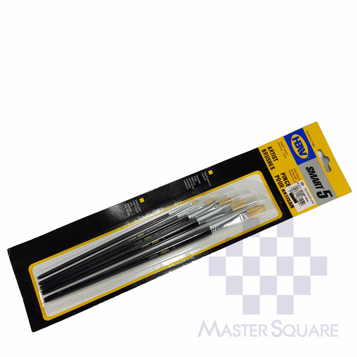 Hbw Artist Brushes Flat Set Of 5 Bch577-5bc Size 2, 4, 8, 12, 16-Master Square