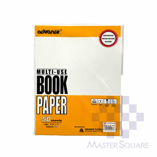 Advance Multi-use Book Paper 8.5 X 11 Sub20 50 Sheets (Max of 2reams/brand per delivery. Please choose another brand if you wish to add more reams to your order)-Master Square