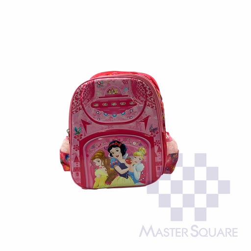 School Backpack 668 Small 2 Zipper With Side Pockets Disney Princess In Pink 13 X 11 X 5 In-Master Square