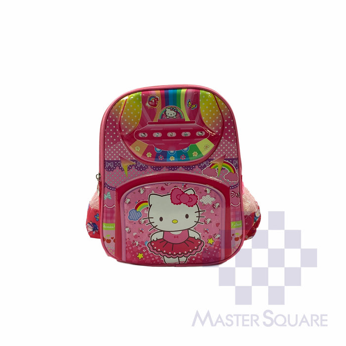 School Backpack 668 Small 2 Zipper With Side Pockets Hell Kitty In Pink 13 X 11 X 5 In-Master Square