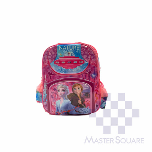 School Backpack 668 Small 2 Zipper With Side Pockets Frozen In Pink 13 X 11 X 5 In-Master Square