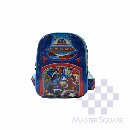 School Backpack 668 Small 2 Zipper With Side Pockets Captain America In Blue 13 X 11 X 5 In-Master Square