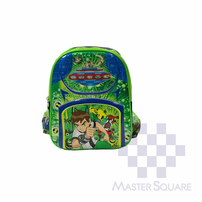 School Backpack 668 Small 2 Zipper With Side Pockets Ben10 In Green 13 X 11 X 5 In-Master Square
