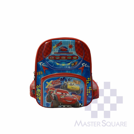 School Backpack 668 Small 2 Zipper With Side Pockets Cars In Red 13 X 11 X 5 In-Master Square