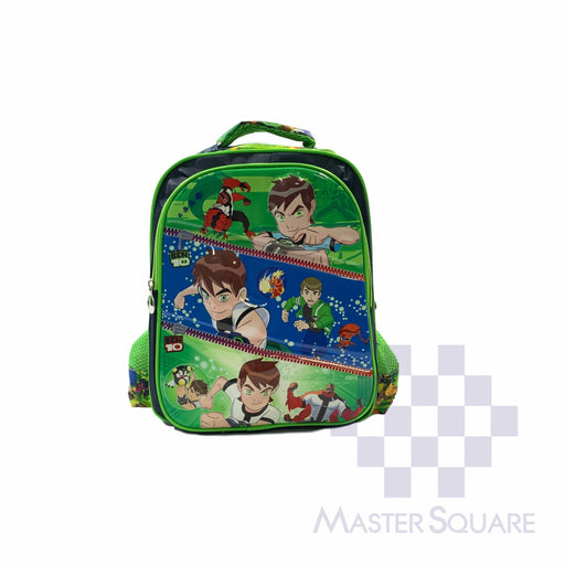 School Backpack 669 2 Zipper With Side Pockets Ben10 In Green 14 X 11.5 X 5 In-Master Square