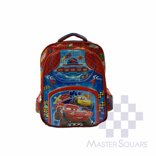 School Backpack 669 2 Zipper With Side Pockets Cars In Red 14 X 11.5 X 5 In-Master Square