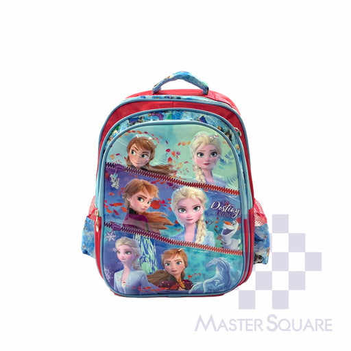 School Backpack 668 3 Zipper With Side Pockets Frozen In Blue 16 X 12 X 7 In-Master Square