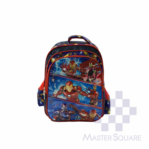 School Backpack 668 3 Zipper With Side Pockets Iron In Blue 16 X 12 X 7 In-Master Square