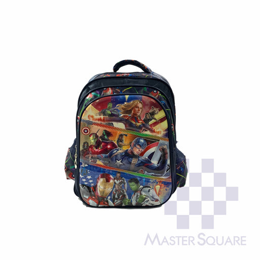 School Backpack 668 3 Zipper With Side Pockets Captain America In Blue 16 X 12 X 7 In-Master Square