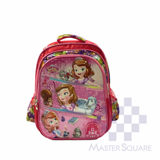 School Backpack 668 3 Zipper With Side Pockets Sofia In Pink 16 X 12 X 7 In-Master Square