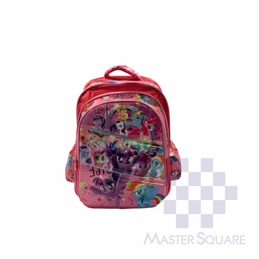 School Backpack 668 3 Zipper With Side Pockets My Pony In Pink 16 X 12 X 7 In-Master Square
