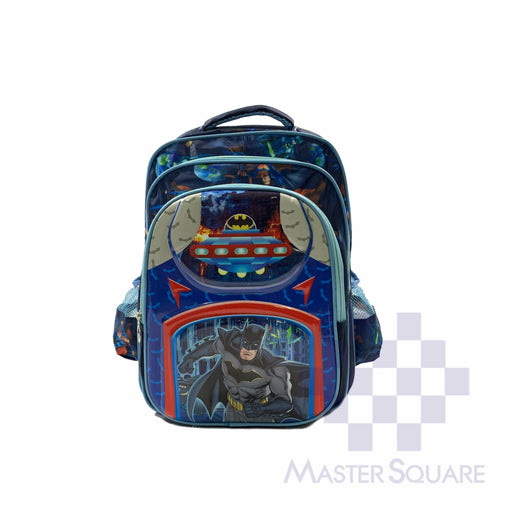 School Backpack 810 3 Zipper With Side Pockets Batman In Blue 16 X 12.5 X 7 In-Master Square