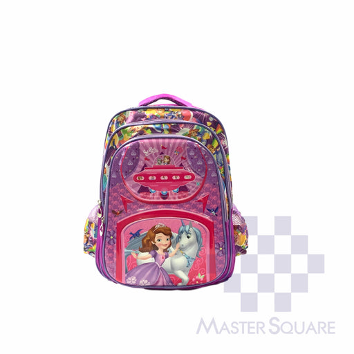 School Backpack 810 3 Zipper With Side Pockets Sofia In Purple 16 X 12.5 X 7 In-Master Square