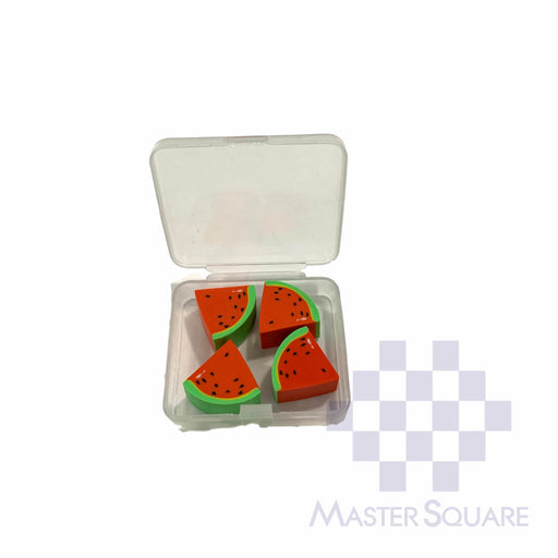 Pencil Eraser Fruits With Case Approx Size Of Case 5 X 4 Cm Pack Of 4-Master Square