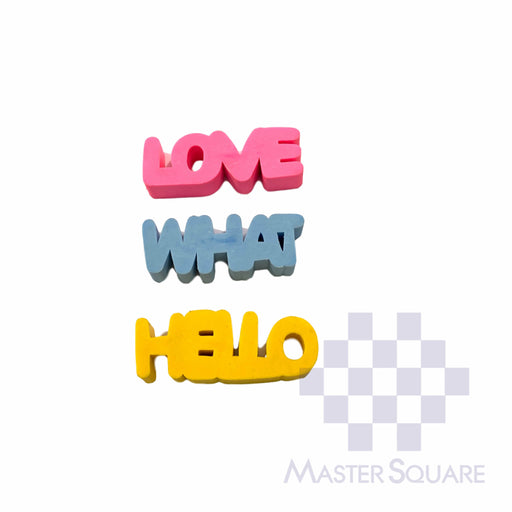 Pencil Eraser Words Approx Size 5.5 X 2 Cm Pack Of 3 Hello, What, Love-Master Square