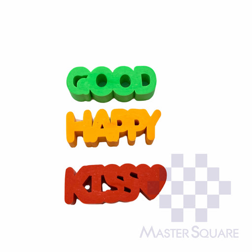 Pencil Eraser Words Approx Size 5.5 X 2 Cm Pack Of 3 Good, Happy, Kiss-Master Square