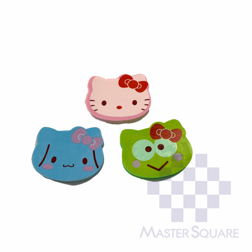 Pencil Eraser Hello Kitty Faces Approx Size 5 X 4 Cm Pack Of 3 Pink, Blue, Green-Master Square
