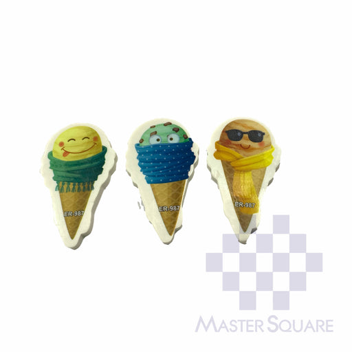 Pencil Eraser Ice Cream Approx Size 6 X 4 Cm Pack Of 3 Blue, Green, Yellow-Master Square
