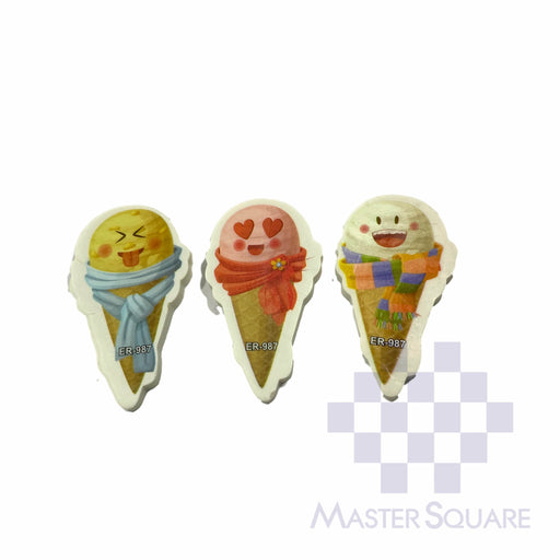 Pencil Eraser Ice Cream Approx Size 6 X 4 Cm Pack Of 3 Blue,red, Orange-Master Square
