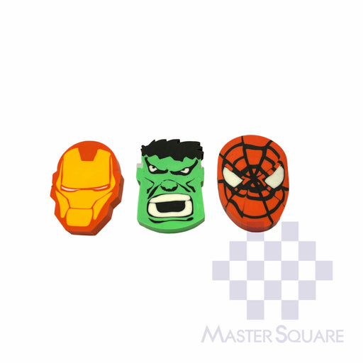 Pencil Eraser Characters Approx Size 4.25 X 3 Cm Pack Of 3 Spiderman, Transformer, Hulk-Master Square