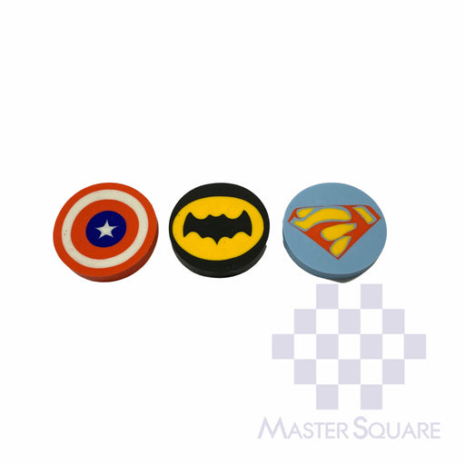 Pencil Eraser Character Logo Approx Diameter 4 Cm Pack Of 3 Capt A, Superman, Batman-Master Square