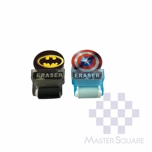Pencil Eraser With Shaving Roller Approx Size 5 X 3 Cm Pack Of 2 Batman, Capt A-Master Square