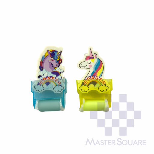 Pencil Eraser With Shaving Roller Approx Size 5 X 3 Cm Pack Of 2 Unicorn Blue, Yellow-Master Square