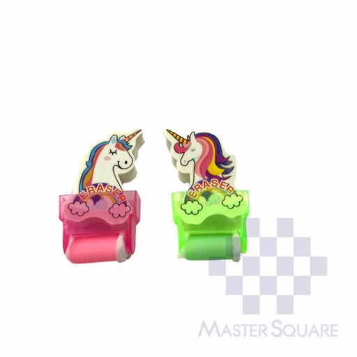 Pencil Eraser With Shaving Roller Approx Size 5 X 3 Cm Pack Of 2 Unicorn Pink, Green-Master Square