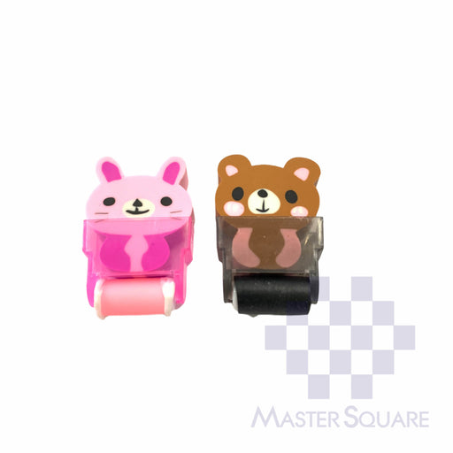 Pencil Eraser With Shaving Roller Approx Size 5 X 3 Cm Pack Of 2 Bunny And Bear-Master Square