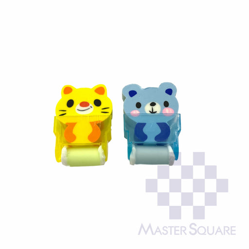 Pencil Eraser With Shaving Roller Approx Size 5 X 3 Cm Pack Of 2 Cat And Bear-Master Square