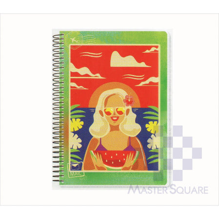 Spring Leaf Spiral Notebook 6 X 8.5 In 80 Lvs Pop Art Design 7-Master Square