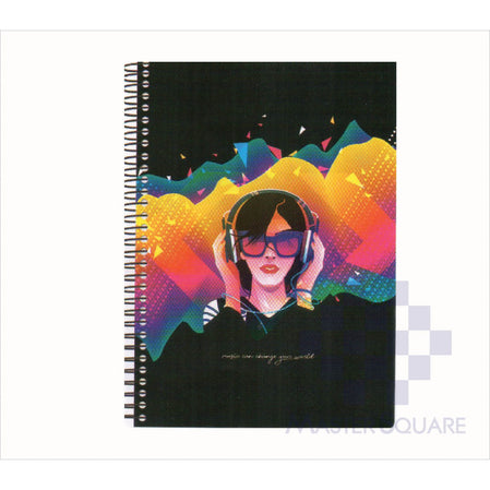 Spring Leaf Spiral Notebook 6 X 8.5 In 80 Lvs Black Book Design 2-Master Square