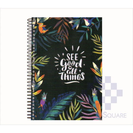 Spring Leaf Spiral Notebook 6 X 8.5 In 80 Lvs Black Book Design 5-Master Square