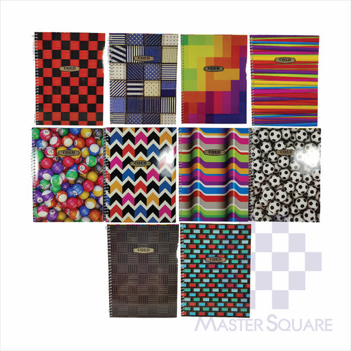 Notebook Spiral 80lvs Coed Notes Design Pack Of 10-Master Square