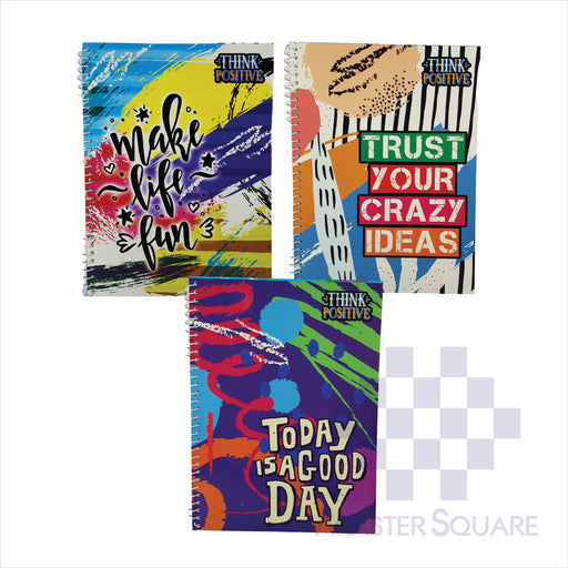 Notebook Spiral 80lvs Think Positive Design Set 1 Pack Of 3-Master Square