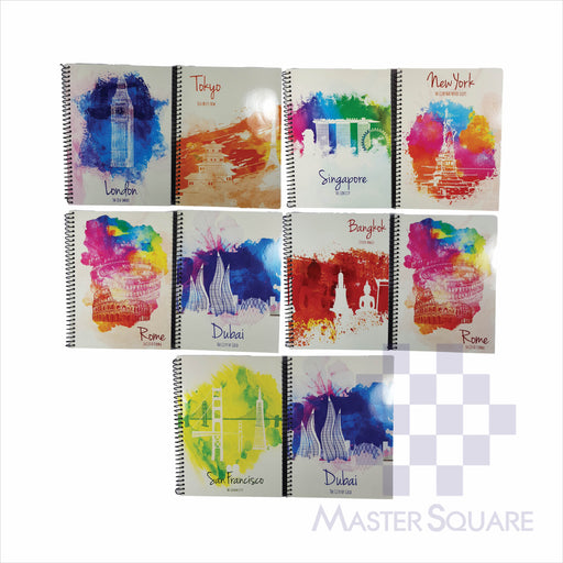Notebook Spiral 80lvs Travel Design Pack Of 10-Master Square