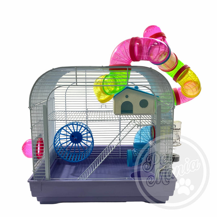 Hamster Cage With Connecting Tube B4104W-Master Square
