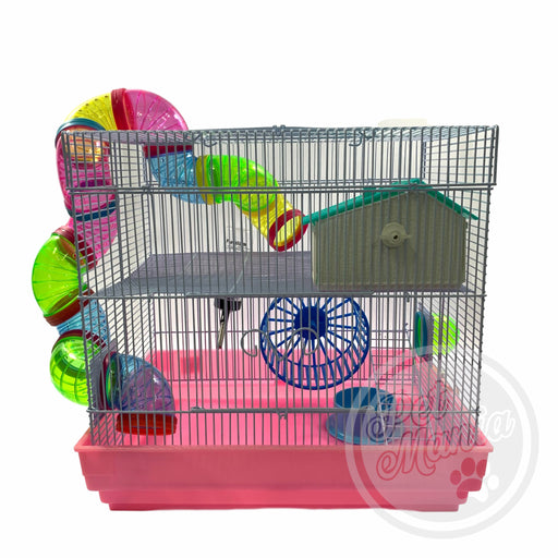 Hamster Cage With Connecting Tube B4101W-Master Square