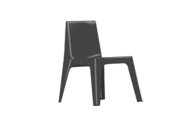 Secondary Polypropylene Chair, Black, 450mmH