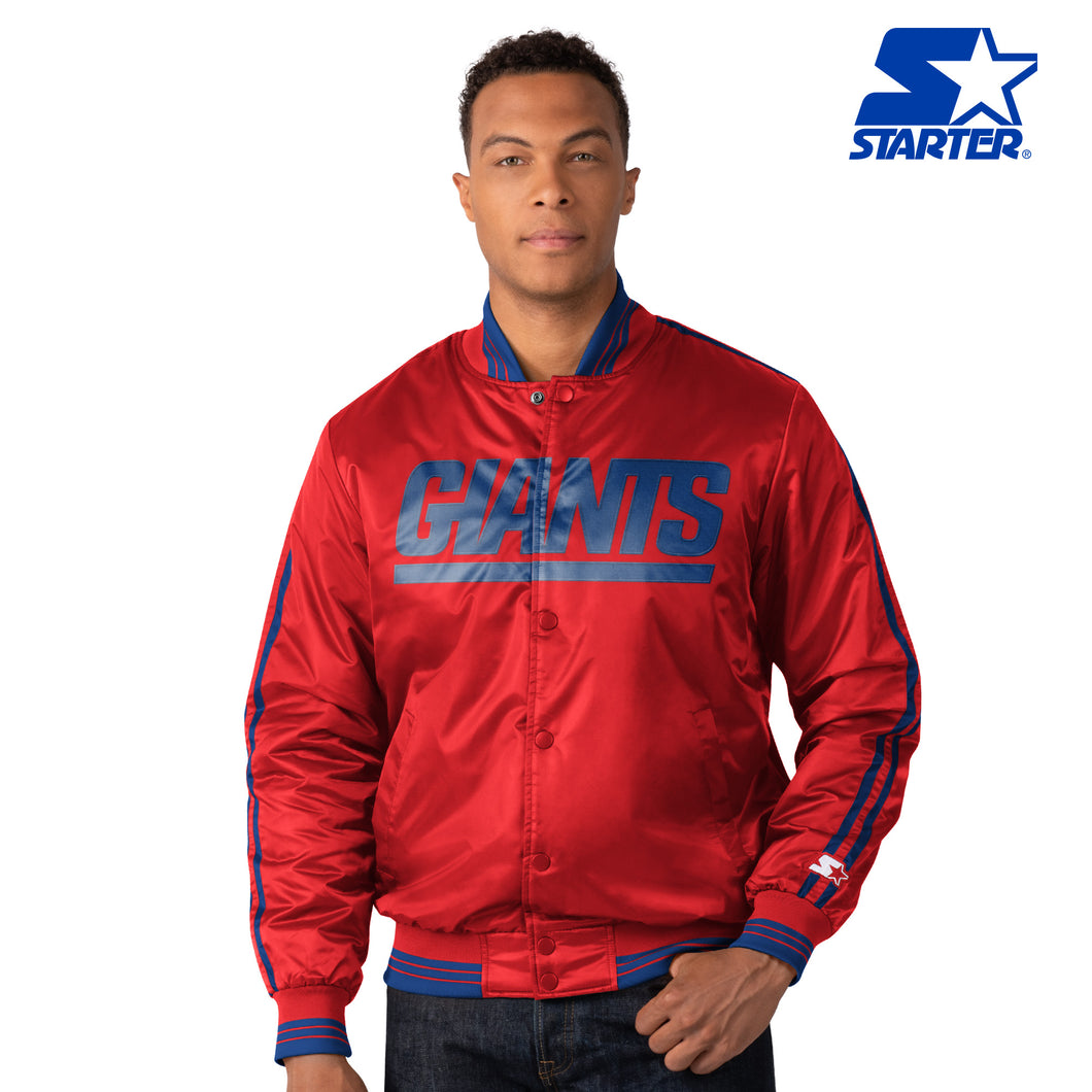 The First Rounder - Men's Starter Satin Jacket - New York Giants