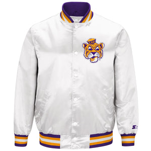 Men's White LSU Tigers Starter Satin Jacket