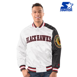 Men's Starter Satin Jacket -  Chicago Blackhawks