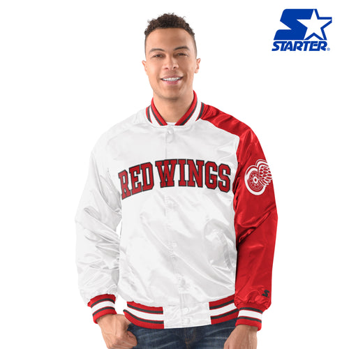 Men's Starter Satin Jacket - Detroit Redwings