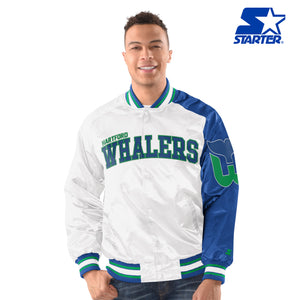 Men's Starter Satin Jacket - Hartford Whalers