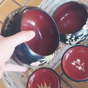 XL Go Bowls - Red & Black Lacquer on Chestnut - Bamboo and Cherry Designs