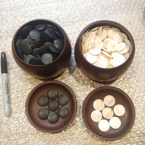 Size 20 Go Stones and Go Bowls Set - Small - Oak? Chestnut? - Slate & Shell - #C027