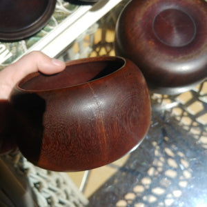 Size 20 Go Stones and Go Bowls Set - Medium - Antique Rosewood - Slate & Shell - #C028